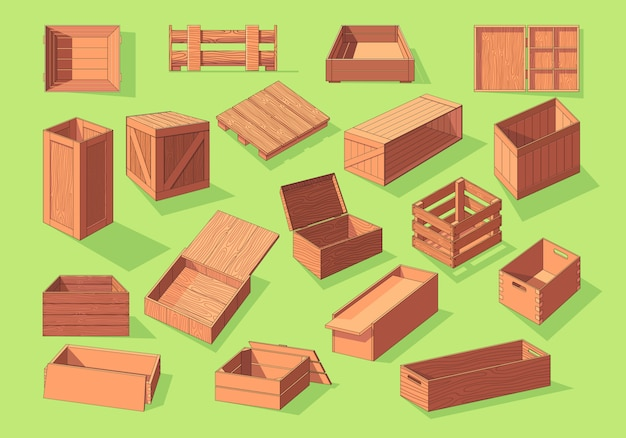 Wooden box isometric vector set icon. pallets fruits and vegetables transportation containers