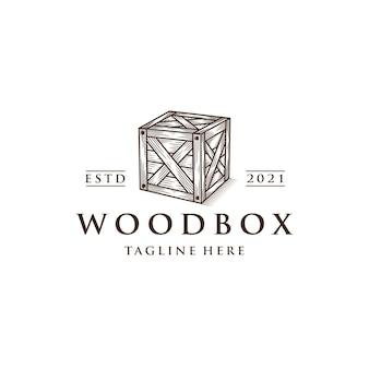 Шаблон логотипа деревянный ящик