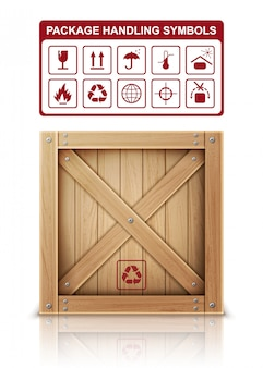 Wooden box and package symbols