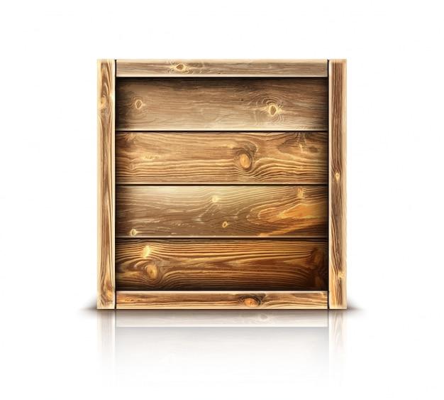 Деревянная коробка, реалистичный закрытый деревянный ящик для груза Бесплатные векторы