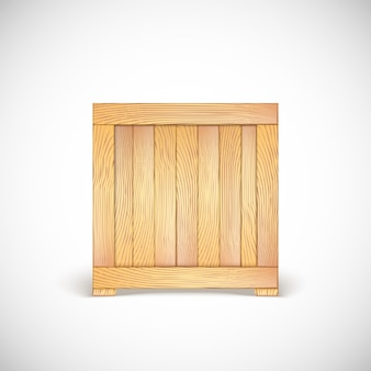 Wooden box. three-dimensional icon.