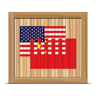 Wooden box with flag