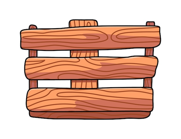 Wooden box with horizontal planks in cartoon style. bamboo box in eco style