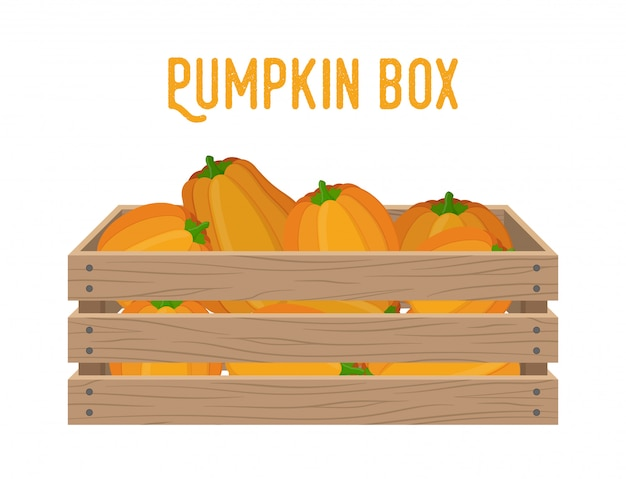 Wooden box with pumpkins