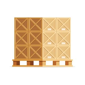 パレット上の木製の箱