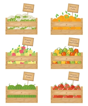 Wooden boxes of vegetables and fruits.