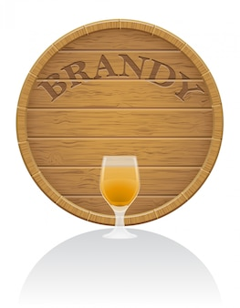 Wooden brandy barrel and glass vector illustration