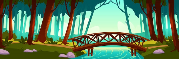 Wooden bridge crossing river in forest