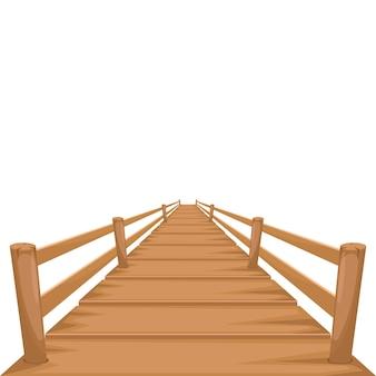 白で隔離される木製の橋