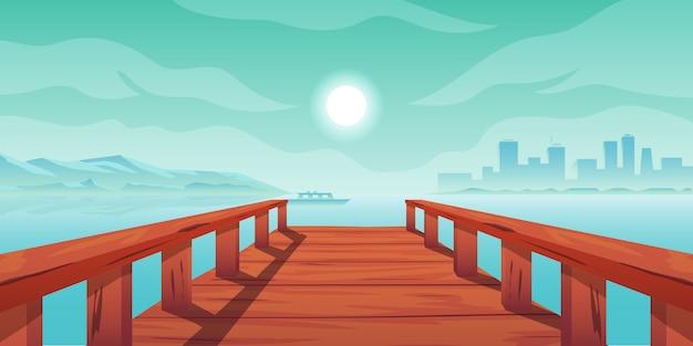 Деревянный мост озеро горы и город вид на город
