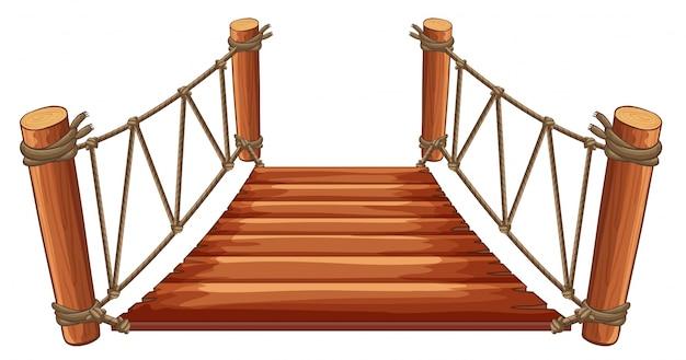 Деревянный мост с прикрепленным канатом