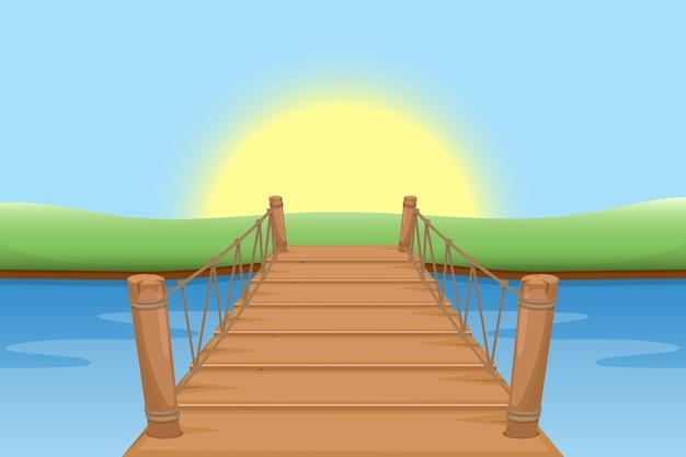 太陽と水と木製の橋
