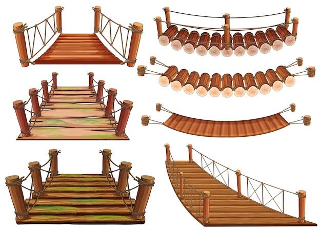 異なるデザインの木製橋
