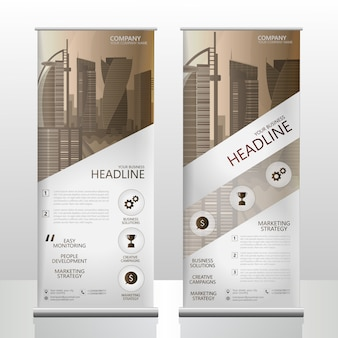 Wooden brown business rollup banner template