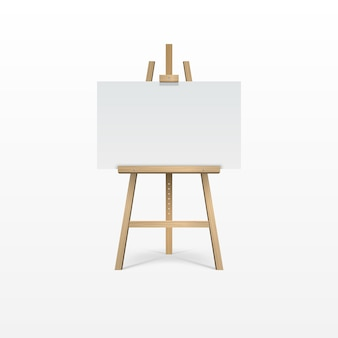 Wooden brown easel with empty blank canvas.