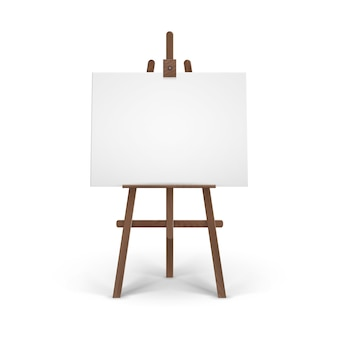Деревянный коричневый мольберт с макетом пустой пустой горизонтальный