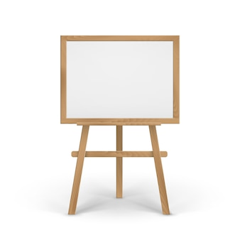 Wooden brown sienna art board easel with empty blank horizontal canvas