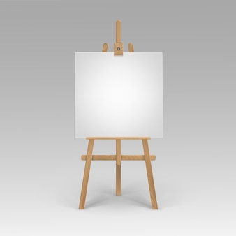 Wooden brown sienna easel with empty blank square canvas