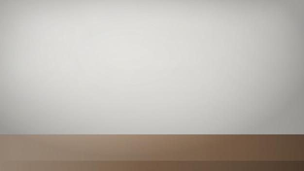 木製の茶色のテーブルと白い壁