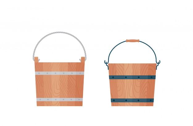 木製のバケツ。図。フラットなデザイン。バケツのアイコン。