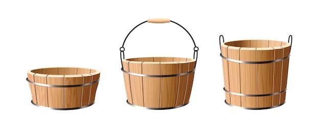 Wooden bucket set