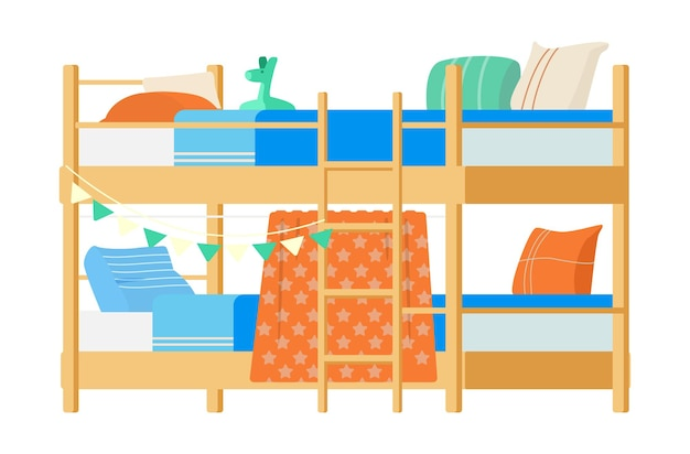 Wooden bunk bed with pillows, toys and decorations