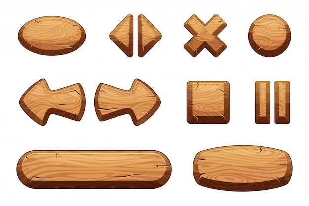 Wooden buttons set for game ui