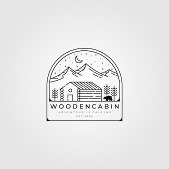 木製キャビンラインアートロゴデザイン