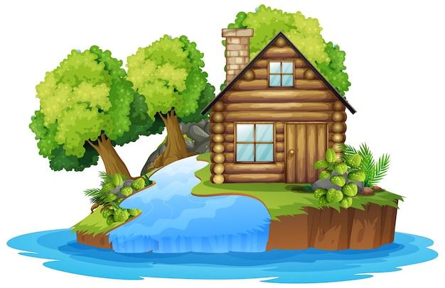 川の隣の木造の小屋