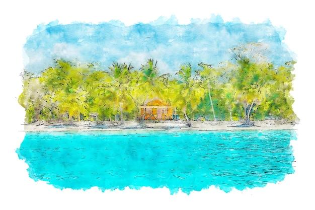 코코넛 나무 수채화 근처 해변에 목조 오두막