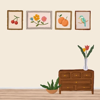 Wooden cabinet in a beige room sketch style vector