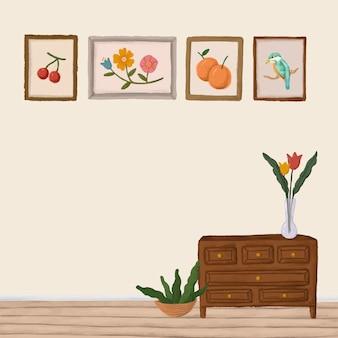 ベージュの部屋のスケッチスタイルのベクトルの木製キャビネット
