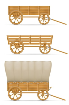 Wooden cart for horse illustration