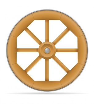 Wooden cart wheel with horse illustration