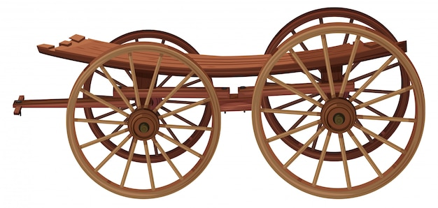 A wooden cart on white background