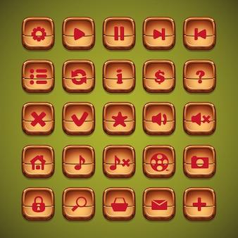 Деревянные мультяшные кнопки для пользовательского интерфейса компьютерных игр и веб-дизайна