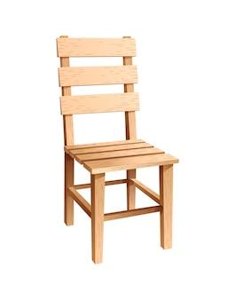 나무 의자. 주방이나 카페를 위한 등받이가 있는 심플한 의자. 벡터 일러스트 레이 션