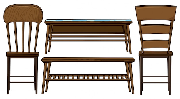 Wooden chairs and tables illustration