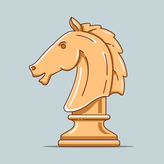 Wooden chess piece of horse