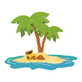 Wooden chest with treasure golden coins on island with palm trees in cartoon style