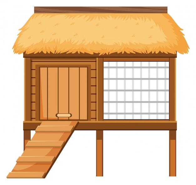 白い背景の上の木製鶏小屋