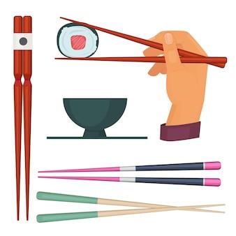 木の箸。寿司やシーフードのイラストを食べるための色付きの日本スティックを食べるためのオリエンタルキッチンアイテム。