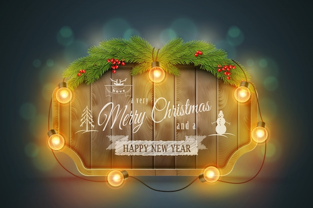 Wooden christmas board with pine branches, light bulbs and holiday wishes..
