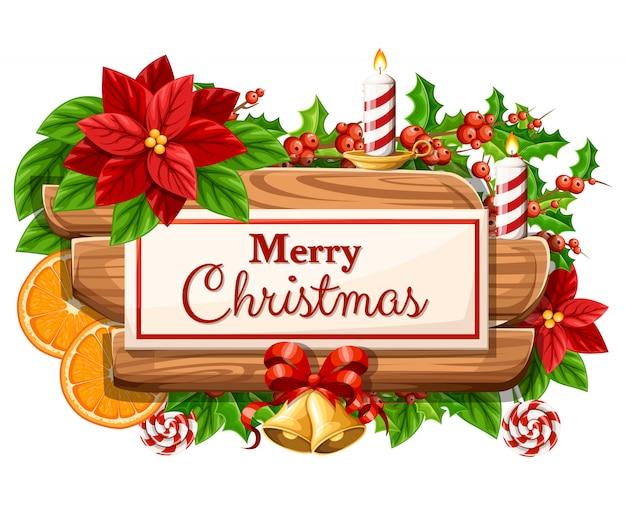 休日の装飾のセットと白い背景の上のメリークリスマスイラストと碑文の木製クリスマスボード