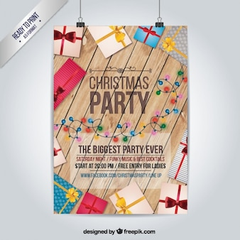 Wooden christmas party poster with gifts Free Vector