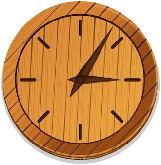 数字のない木製時計
