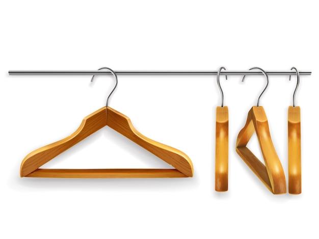 Деревянные вешалки для одежды, вектор
