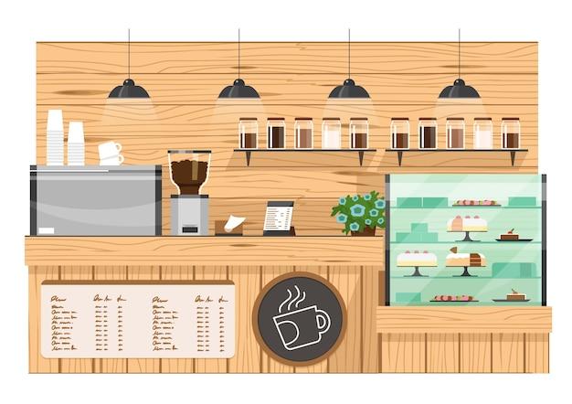 Wooden coffee bar, coffee shop counter