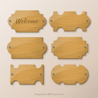 Wooden collection of signboards