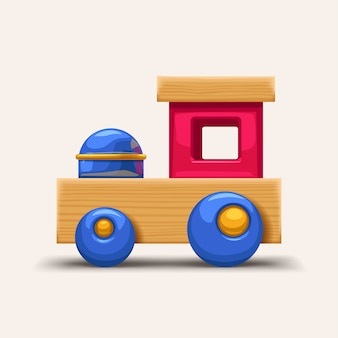 木製のカラフルな電車のおもちゃ